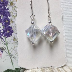 Iridescent geometric glass cubes clear sterling